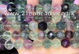 CLF1164 15.5 inches 12mm faceetd round fluorite gemstone beads