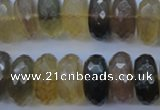 CFL144 15.5 inches 10*20mm faceted rondelle yellow fluorite beads
