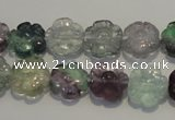 CFL492 15.5 inches 12mm carved flower natural fluorite beads