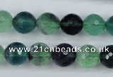 CFL54 15.5 inches 12mm faceted round AB grade natural fluorite beads