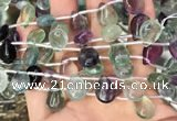 CFL960 Top drilled 10*14mm flat teardrop natural fluorite beads