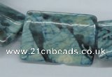 CFS118 15.5 inches 25*35mm rectangle dyed blue feldspar gemstone beads