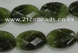 CGA110 15.5 inches 15*20mm faceted oval natural green garnet beads