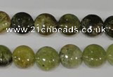 CGA212 15.5 inches 12mm flat round natural green garnet beads
