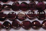 CGA382 15 inches 5mm coin natural red garnet beads wholesale