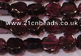 CGA385 15 inches 5mm carved flower natural red garnet beads wholesale
