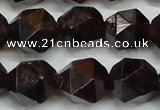 CGA454 15.5 inches 14mm faceted nuggets natural red garnet beads