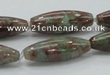 CGA55 15.5 inches 10*30mm rice red green garnet gemstone beads