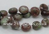 CGA58 15.5 inches 10mm flat round red green garnet gemstone beads