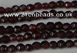 CGA660 15.5 inches 3mm faceted round red garnet beads wholesale