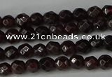 CGA661 15.5 inches 4mm faceted round red garnet beads wholesale