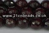 CGA664 15.5 inches 10mm faceted round red garnet beads wholesale