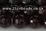CGA665 15.5 inches 12mm faceted round red garnet beads wholesale