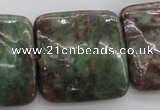 CGA83 15.5 inches 30*30mm square red green garnet gemstone beads