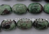 CGA85 15.5 inches 13*18mm egg-shaped red green garnet gemstone beads