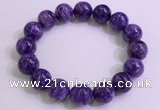 CGB2574 7.5 inches 13mm round charoite gemstone beaded bracelets