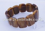 CGB288 8 inches 18*25mm faceted rectangle tiger eye gemstone bracelet