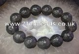 CGB3000 7.5 inches 17mm - 18mm carved round grey agate bracelet