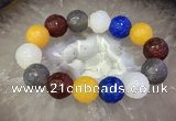 CGB3003 7.5 inches 16mm carved round mixed agate bracelet wholesale