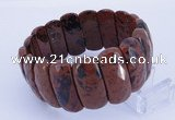 CGB301 8 inches 12*30mm faceted rectangle mahogany obsidian bracelet
