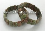 CGB3300 7.5 inches 10*20mm faceted oval unakite bracelets