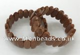 CGB3323 7.5 inches 10*20mm faceted oval goldstone bracelets