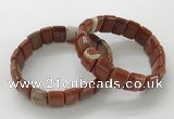 CGB3342 7.5 inches 10*15mm rectangle red jasper bracelets