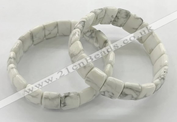 CGB3428 7.5 inches 12*15mm faceted rectangle white howlite bracelets