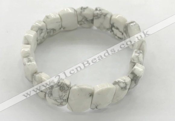 CGB3445 7.5 inches 10*15mm faceted marquise white howlite bracelets
