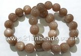 CGB4063 7.5 inches 14mm round sunstone beaded bracelets