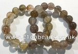CGB4082 7.5 inches 13mm round golden rutilated quartz beaded bracelets