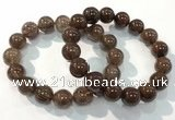 CGB4099 7.5 inches 14mm round rutilated quartz beaded bracelets