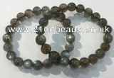 CGB4112 7.5 inches 9mm round labradorite beaded bracelets