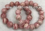 CGB4120 7.5 inches 13.5mm - 14.5mm round rhodochrosite beaded bracelets