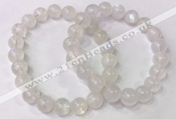 CGB4513 7.5 inches 10mm round white moonstone beaded bracelets