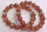 CGB4541 7.5 inches 12mm - 13mm round golden sunstone beaded bracelets