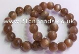 CGB4567 7.5 inches 14mm round golden sunstone beaded bracelets