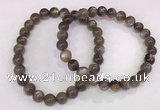 CGB4569 7.5 inches 7mm round black sunstone beaded bracelets