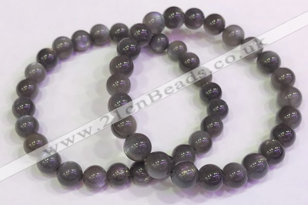 CGB4581 7.5 inches 7mm - 8mm round black sunstone beaded bracelets