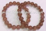 CGB4630 10mm - 11mm round red rutilated quartz beaded bracelets