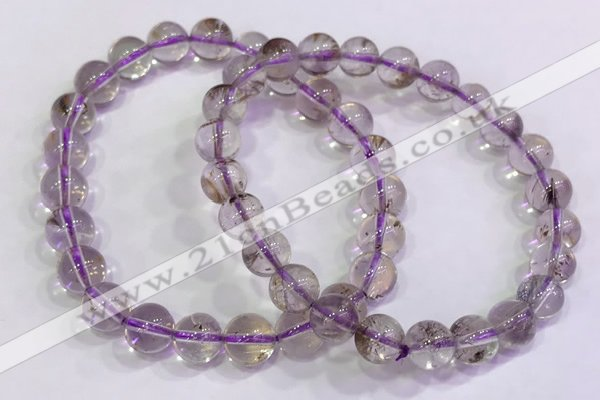 CGB4656 7.5mm - 8mm round purple phantom quartz beaded bracelets