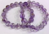 CGB4663 12mm - 13mm round purple phantom quartz beaded bracelets