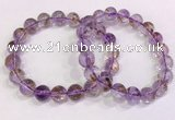 CGB4668 10mm - 11mm round purple phantom quartz beaded bracelets