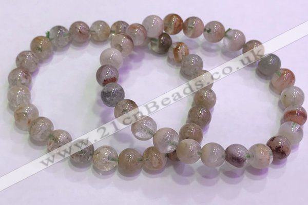 CGB4672 7mm - 8mm round green phantom quartz beaded bracelets