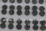 CGC113 14mm flat round druzy quartz cabochons wholesale