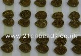 CGC231 10*14mm flat teardrop druzy quartz cabochons wholesale