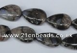 CGE07 15.5 inches 13*18mm flat teardrop glaucophane gemstone beads