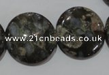 CGE128 15.5 inches 25mm flat round glaucophane gemstone beads