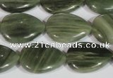 CGH14 15.5 inches 16*22mm flat teardrop green hair stone beads