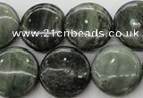 CGH20 15.5 inches 16mm flat round green hair stone beads wholesale